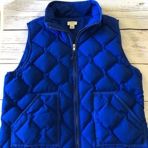J CREW blue quilted feather down fill ZIPPER VEST